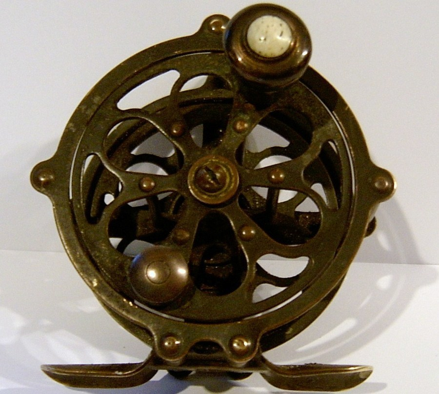 Brass pflueger progress fly fishing reel has the number for Handline fishing reel