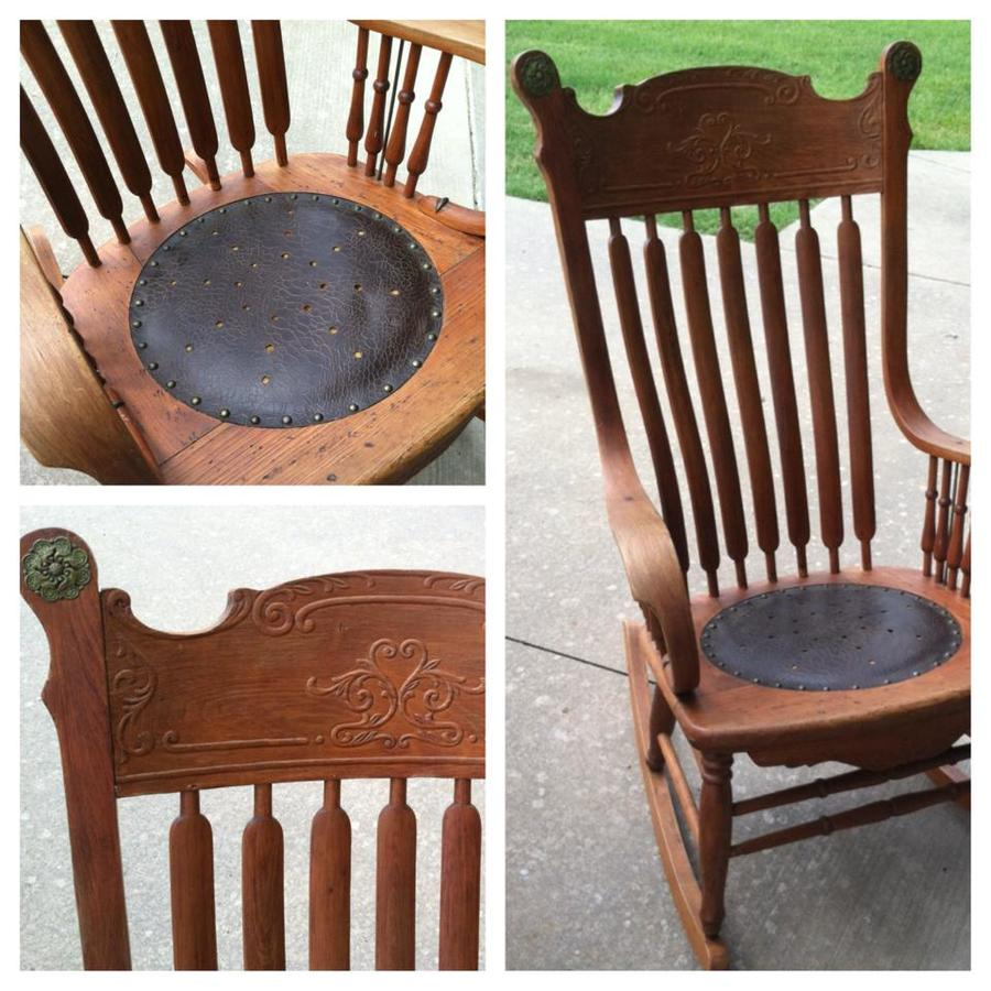Antique rocking chair with leather seat -