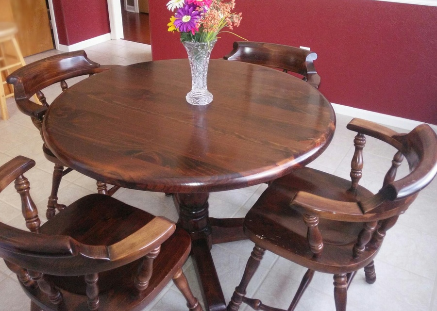 four ethan allen dark antiqued pine old tavern captain chairs