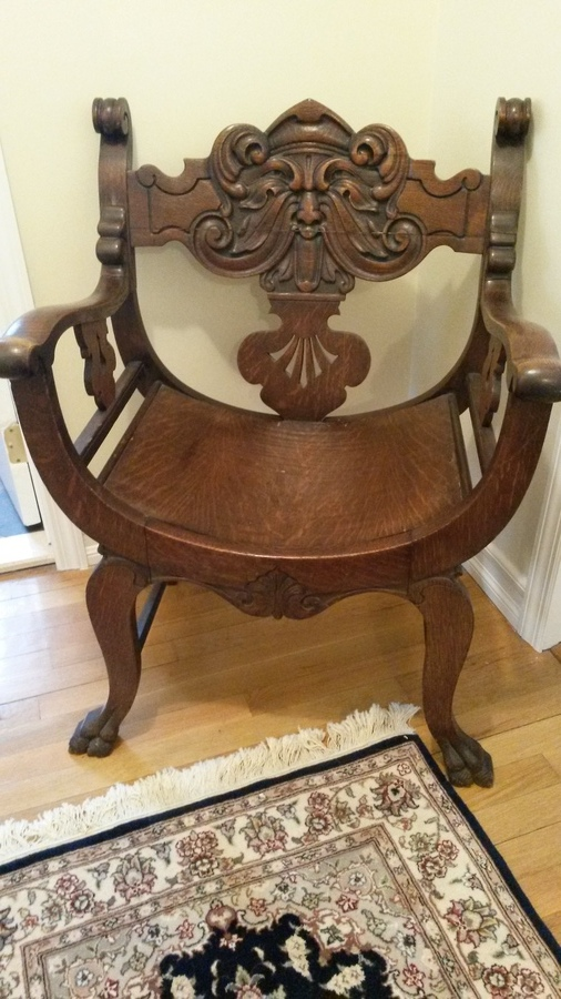 Chair antique carved face throne my
