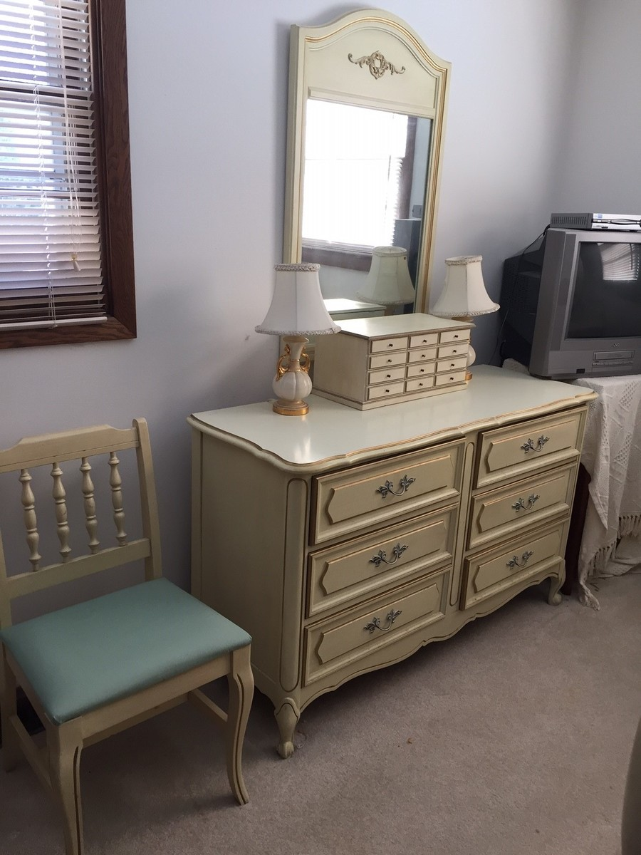 I have a Henry Link cream French Provincial bedroom set with twin canopy be Bedroom set   My Antique Furniture Collection. French Provincial Bedroom Set Value. Home Design Ideas