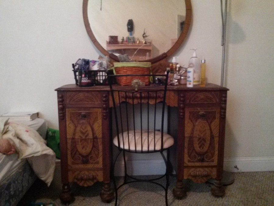 I Have A Old Vanity With Wood Wheels Whats The Worth  My Antique