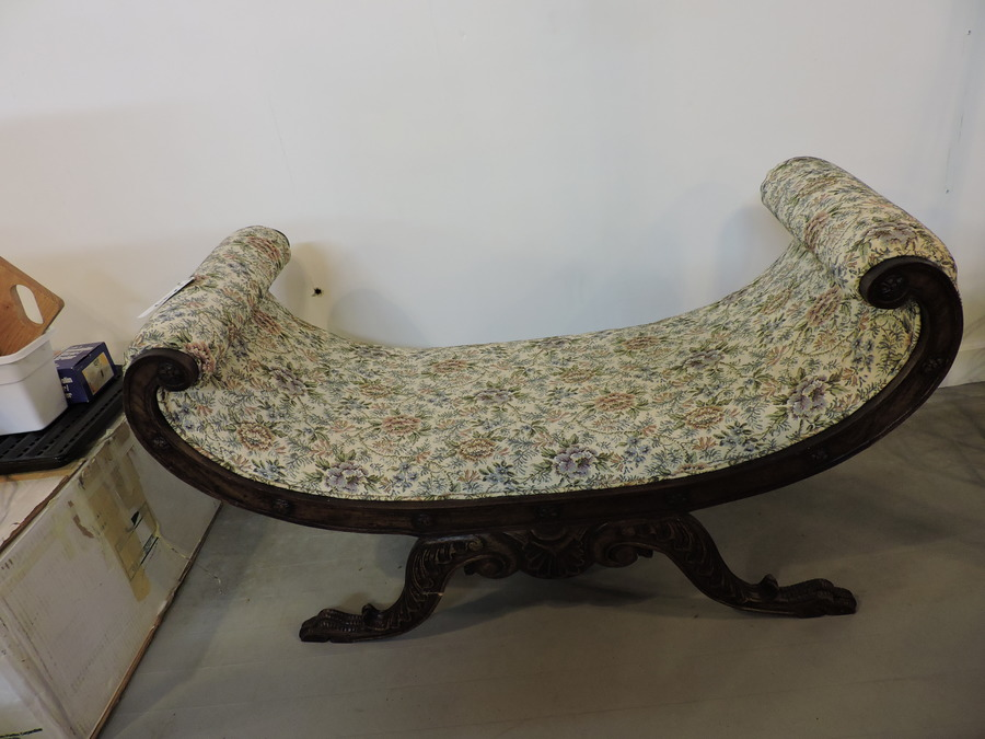 This Piece Is An Upholstered Crescent Shaped Bench What