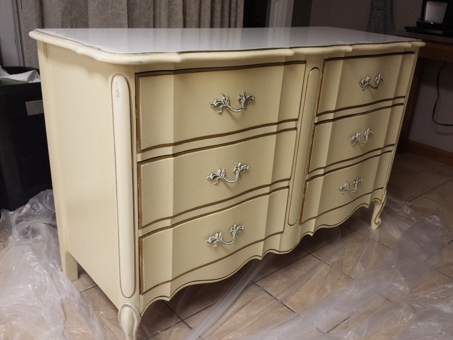 Attractive Ivory U0026 Gold Dixie Dresser... Is There Real Wood Under Paint? | My Antique  Furniture Collection