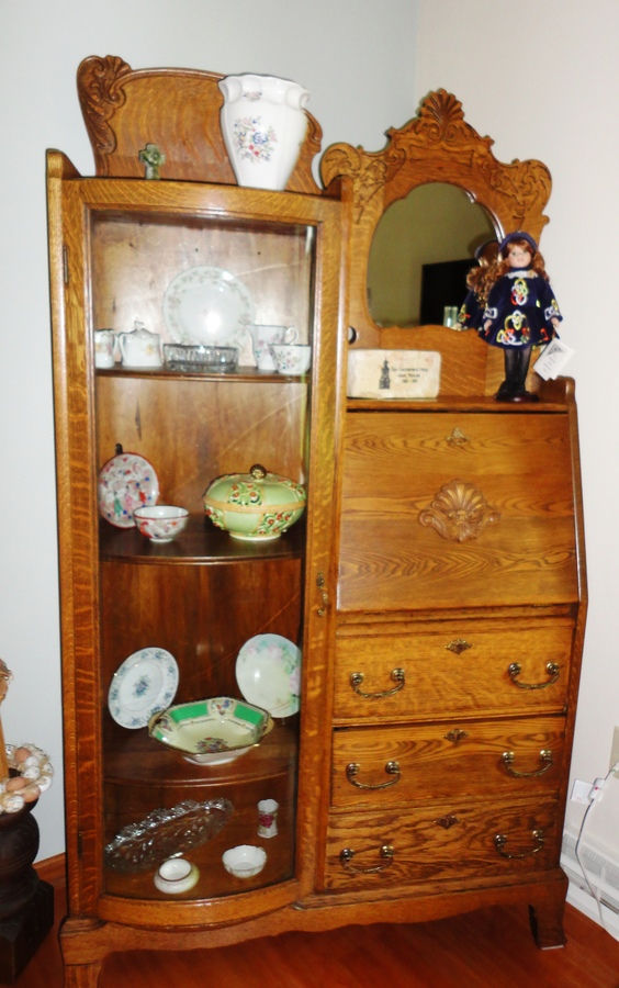 I Want To Sell An Antique Secretary With Curved Glass It Is In Excellent S My Antique