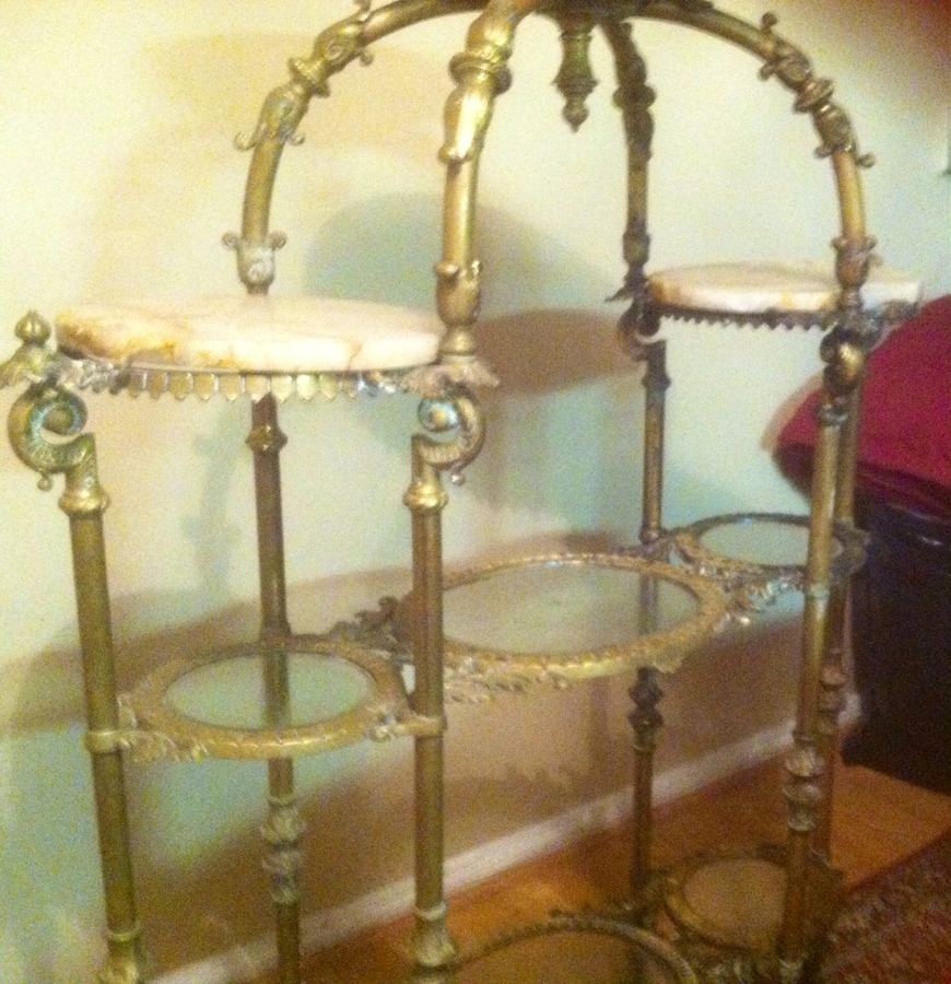 I have an unusual piece copper marble and glass etagere for Where can i buy vintage furniture