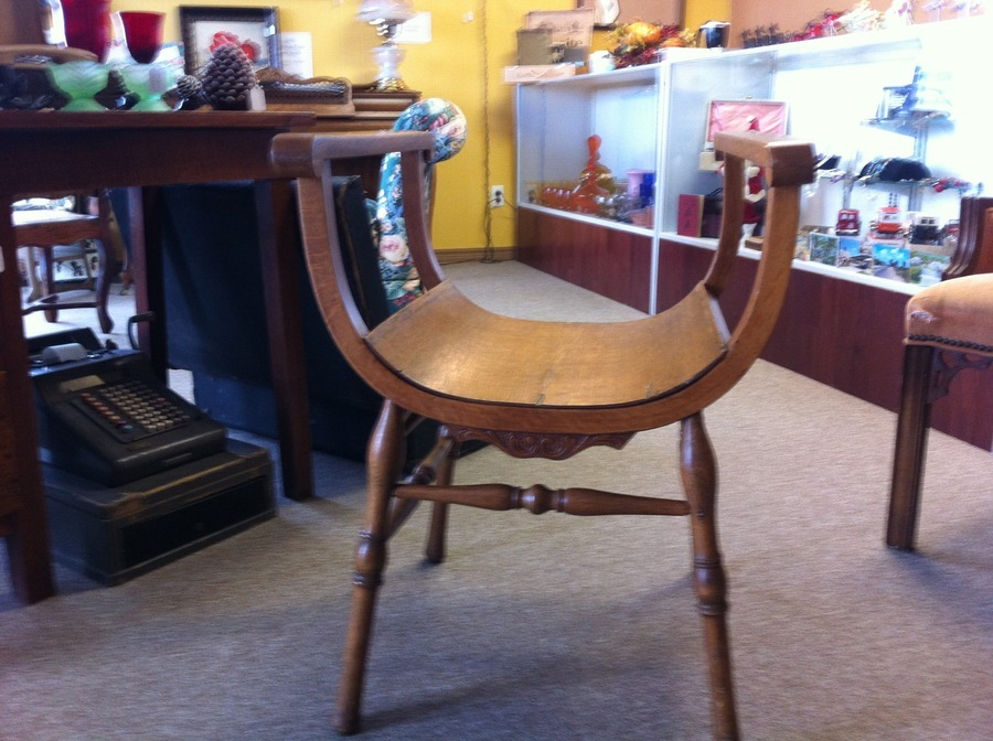 Indianapolis chair mtg co  It has no back and comes up on sides like a  half moon it is wooden has no back someone said it is from the late 1800 s. I Have A Chair From Indianapolis Chair Mtg Co  It Has No Back And
