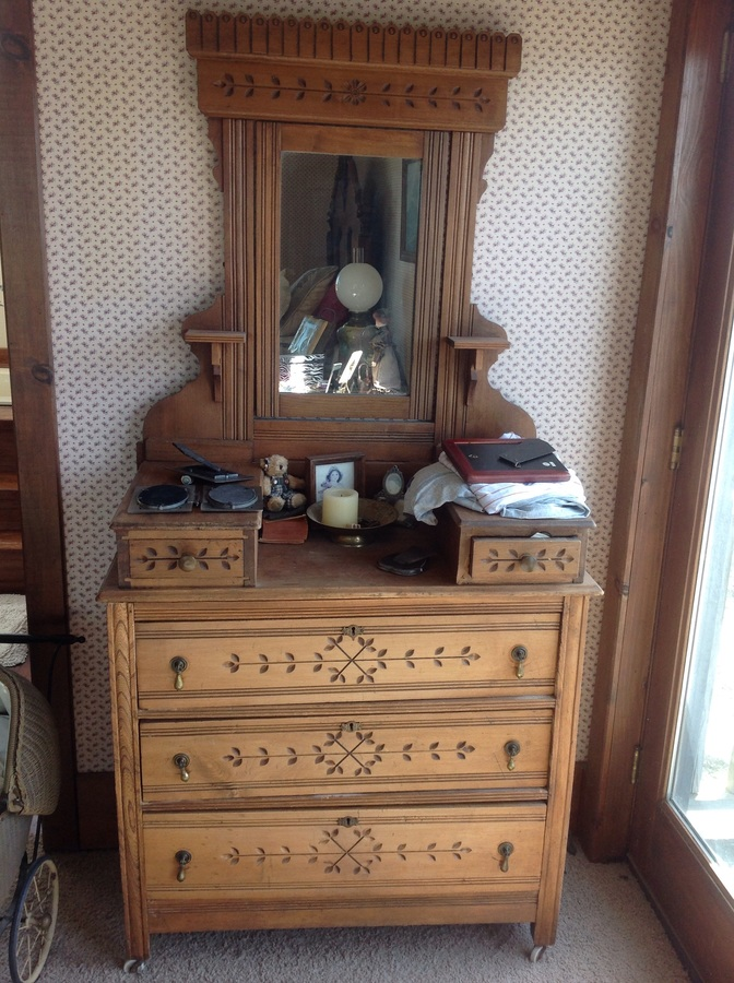 Eastlake Dresser With Mirror Porcelain Castor Wheels