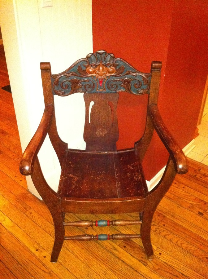 Old chair with quot north wind face carved in the back my