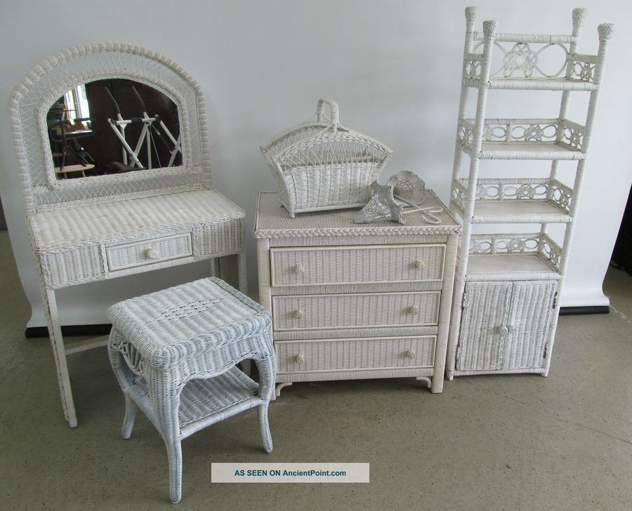 white rattan bedroom set wicker twin vintage link dresser chest vanity mirror side table henry