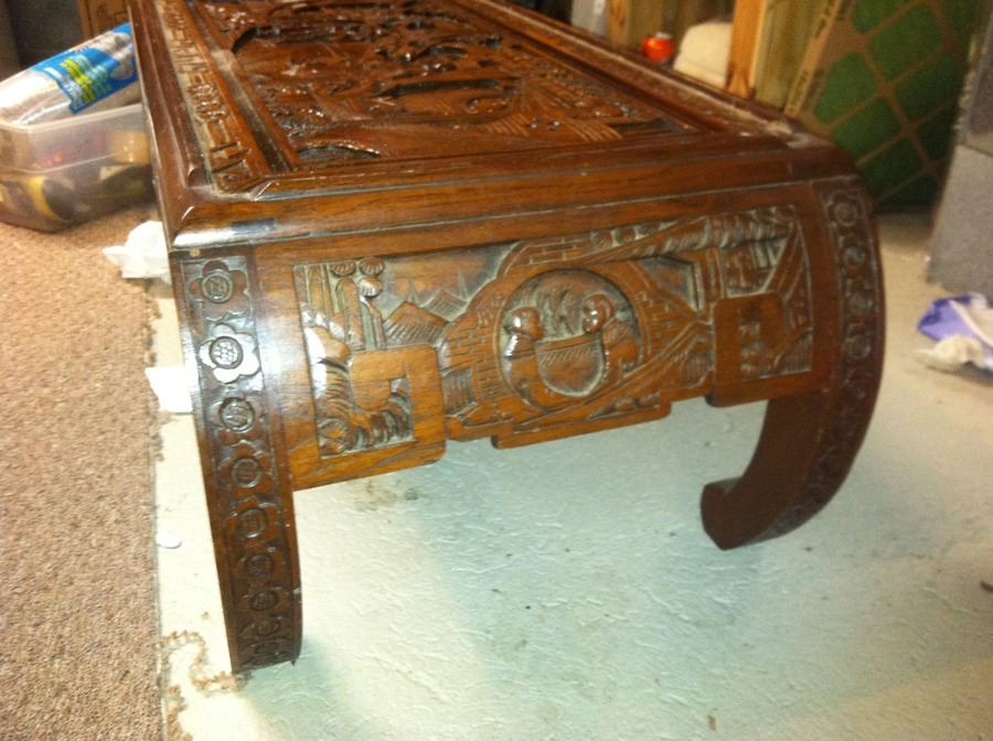 Oriental carved glass top coffee table my antique for Oriental wood carved furniture