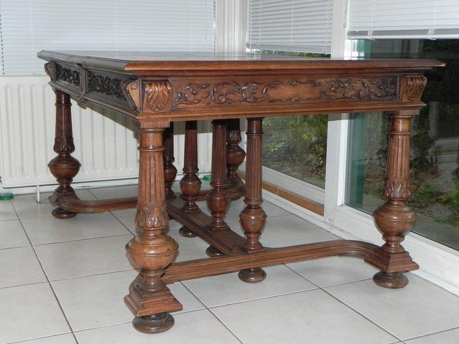 Henri II French Walnut Dining Table