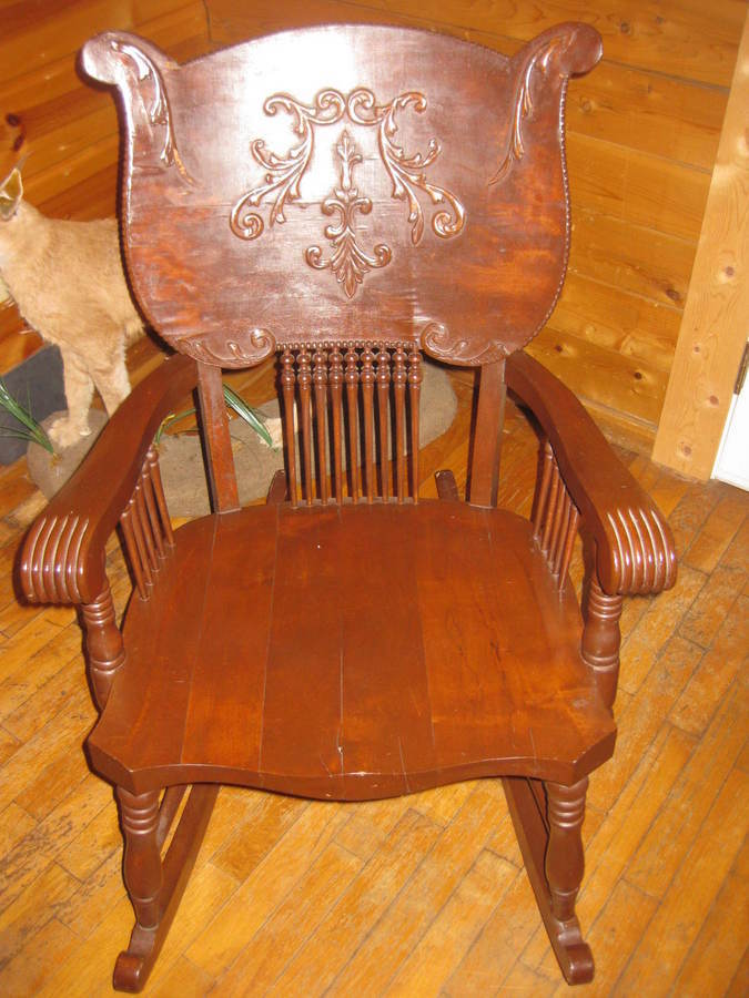 can someone identify style and period of rocking chair photo attached now my antique. Black Bedroom Furniture Sets. Home Design Ideas