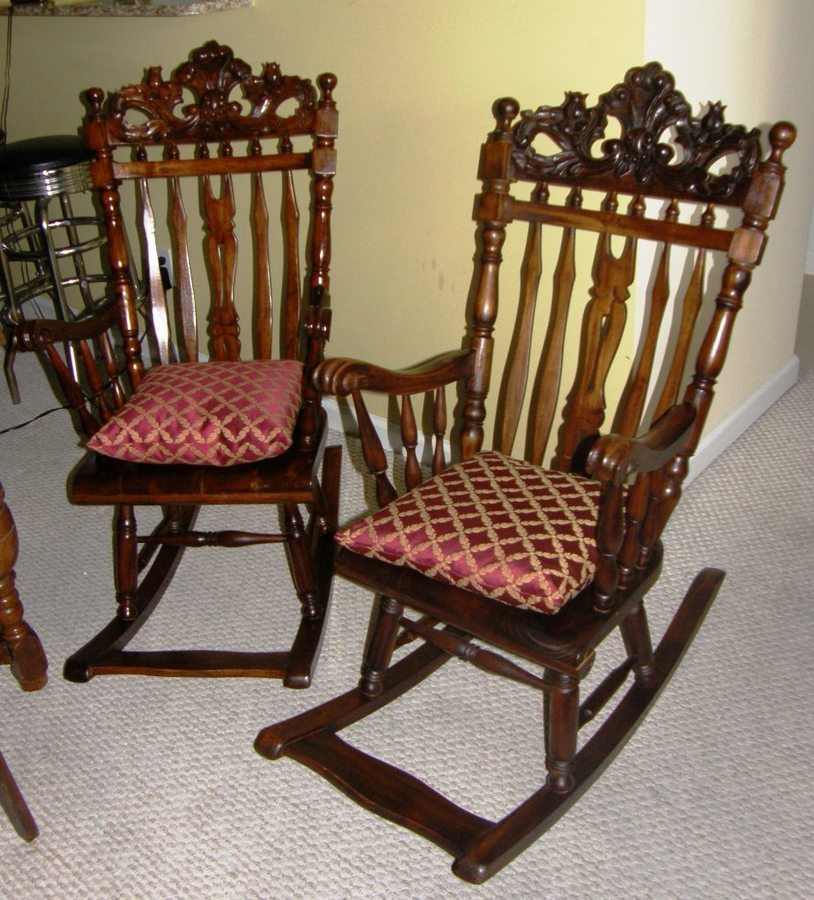 i 39 m trying to identify 2 antique rocking chairs my antique furniture collection. Black Bedroom Furniture Sets. Home Design Ideas