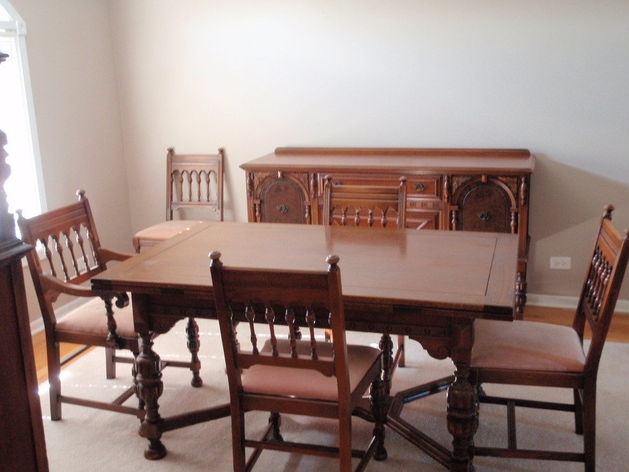 john m smyth co dining room set 6 chairs table china cabinet and