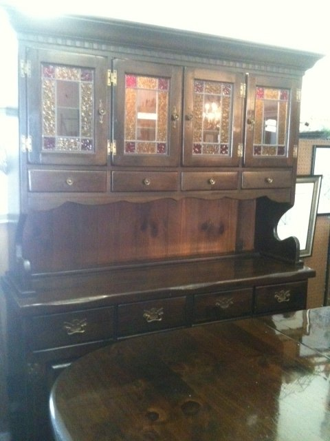 Stained Glass Pine Hutch My Antique Furniture Collection