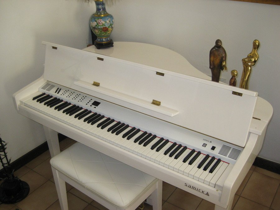 Ivory baby grand samick digital piano sgp 101g with for How big is a baby grand piano