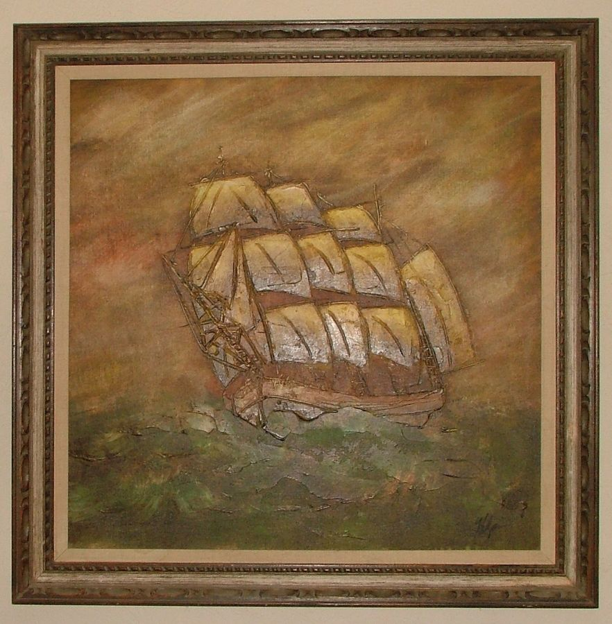 44 x 44 stretched canvas approx 36 x 36 frame is marked wolsey co 36 on the back appears to be oil on canvas any info would be appreciated