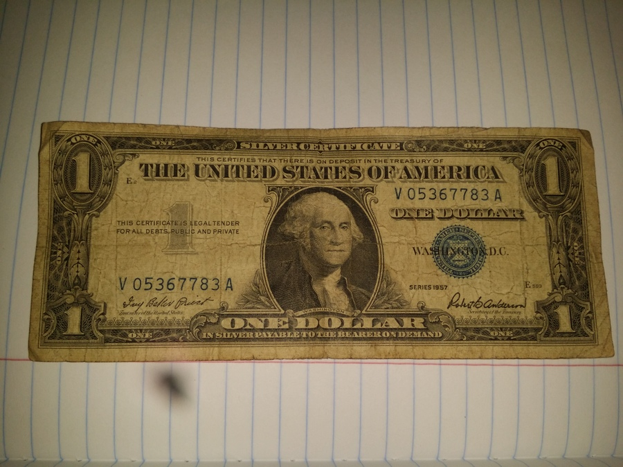 Blue Seal 1957 One Dollar Bill Artifact Collectors