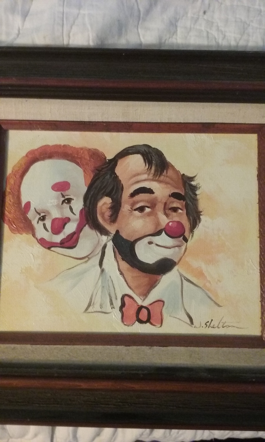 How much is signed oil painting by w shelton of clowns for How much is my painting worth