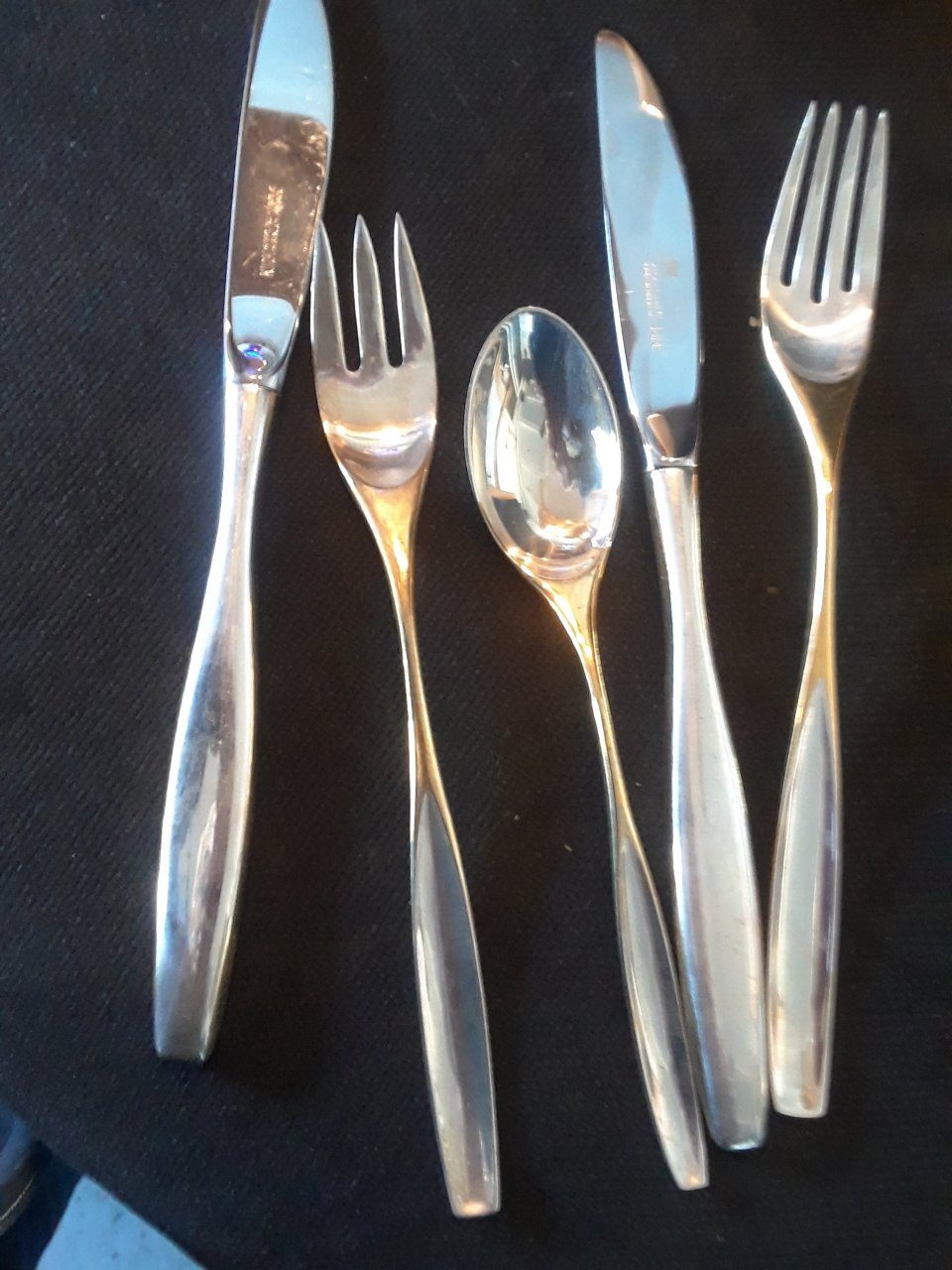 Lg spoons 24 sm spoons 10 knives 1 each lg salad fork u0026 spoon 21 serving spoons 1 butter knife 1 sugar spoon #2 Setting for 8 & Asking Value Of Silver Flatware And Additional Items Similar ...