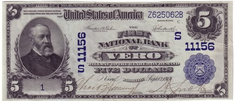 And Finally The 1917 Five Blue Sealnational City Bank Of Tampa Fla Blue Seal I Dont Have A Copy Of This Bill In Inventory And Dont Have An Estimated