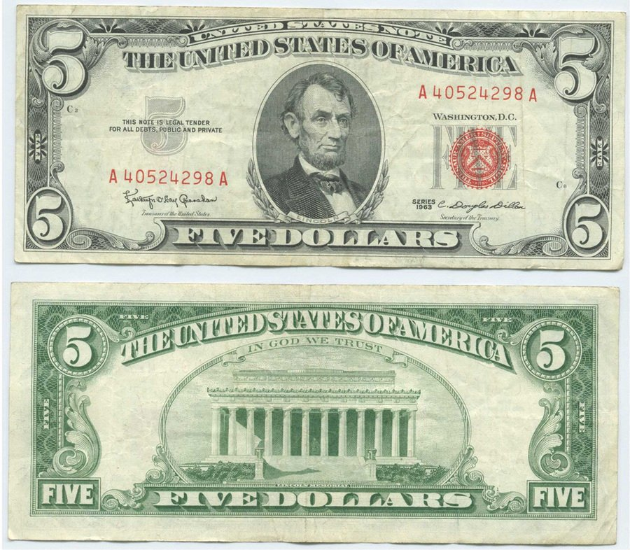 I Have A 1963 Five Dollar Bill With Red Writing And Sealnbu