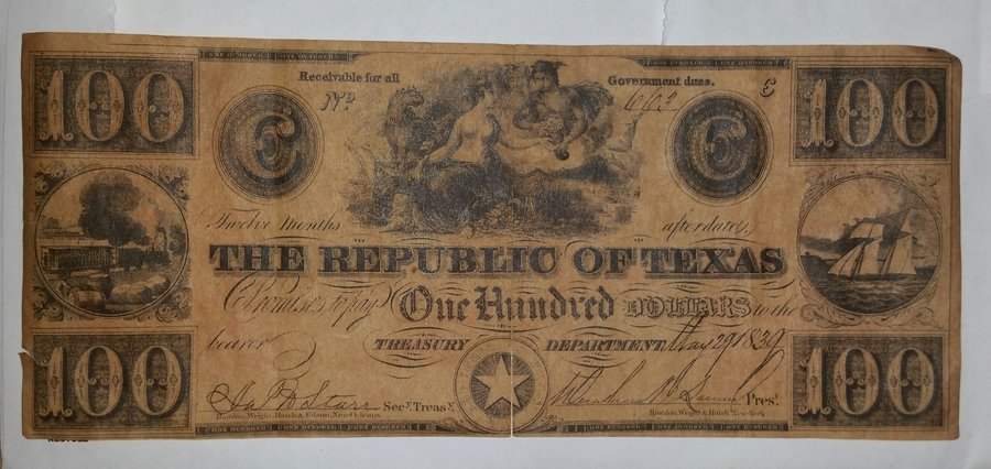 I Found A 1839 Red Back 0.00 Republic Of Texas Paper Money ...