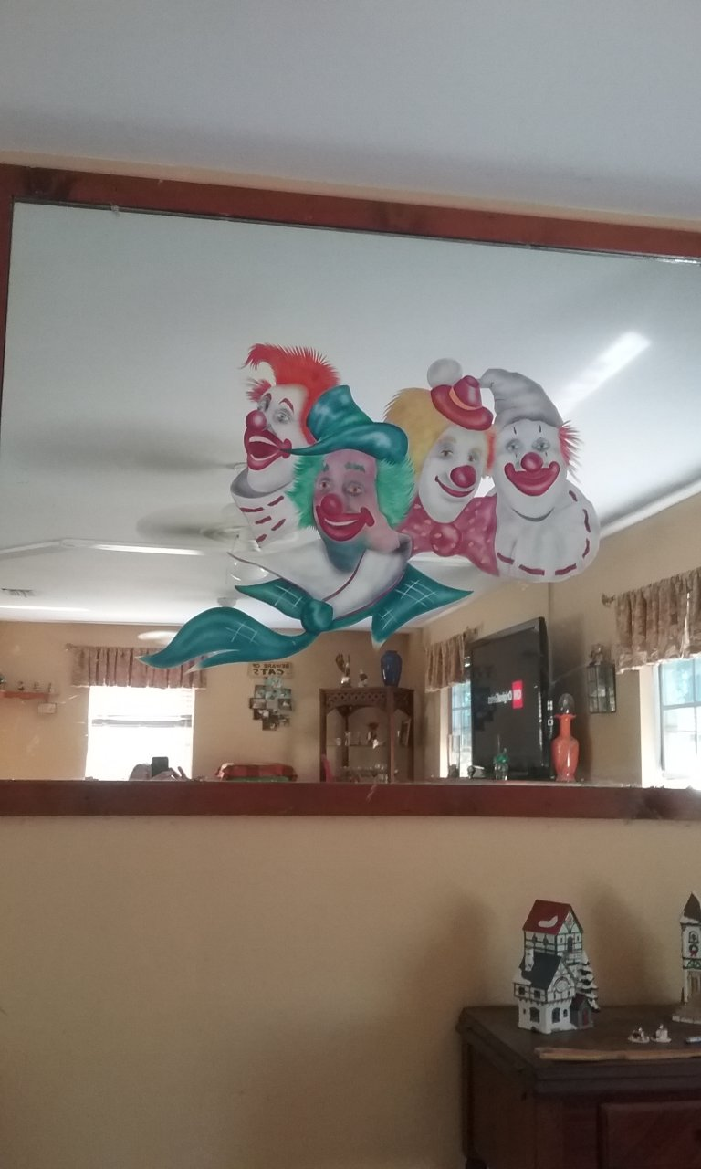 I Have A Painting On A 48 Quot X60 Quot Mirror Of 4 Clowns Signed