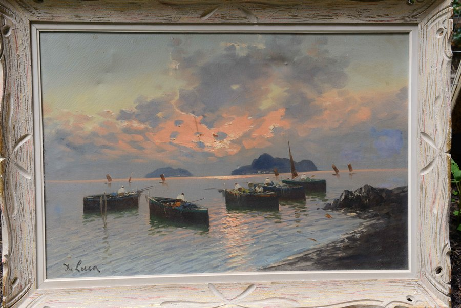 De Luca Signed Oil Painting Of Fishermen In Naples Bay