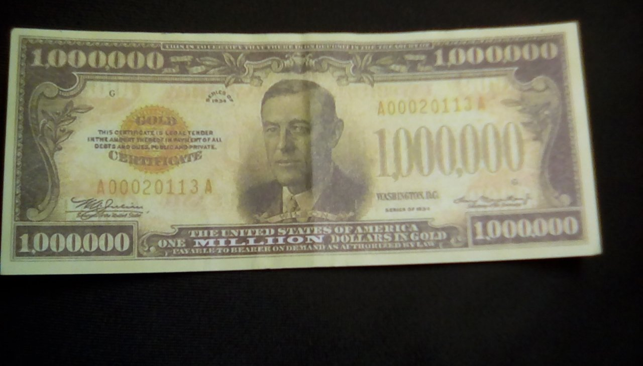 We Have A 1934 Gold Certificate One Million Is It Valid