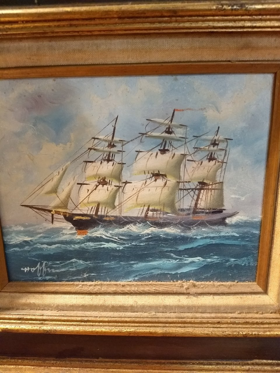 I Have An Oil Painting Of A Tall Ship Signed By Hoffman