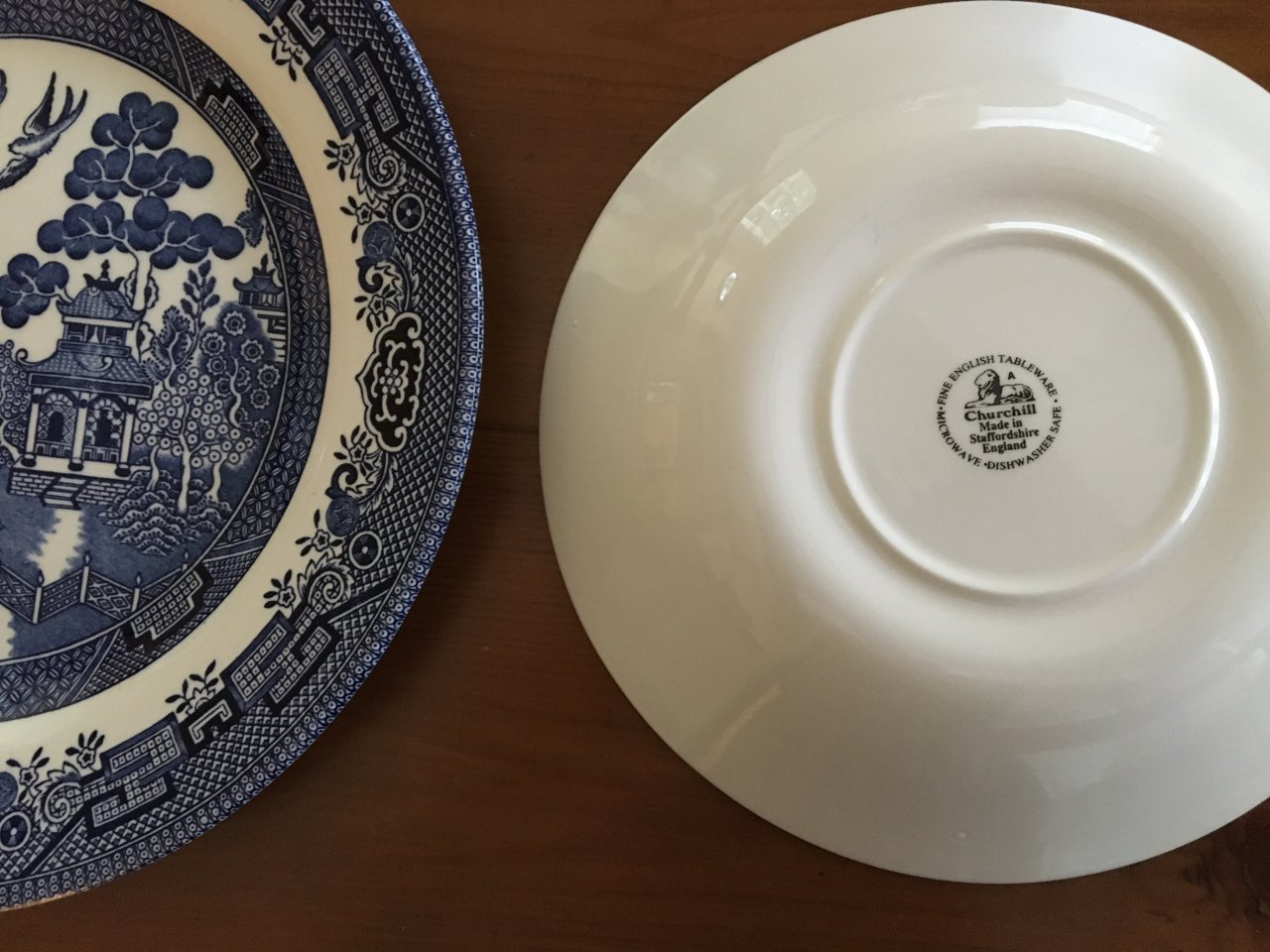 I believe it is contemporary set. My question is should I say it is porcelain china or ironstone if selling? The label says Fine English Tableware. Thanks! & I Have A Service For 12 Churchill Blue Willow With This Mark. I ...