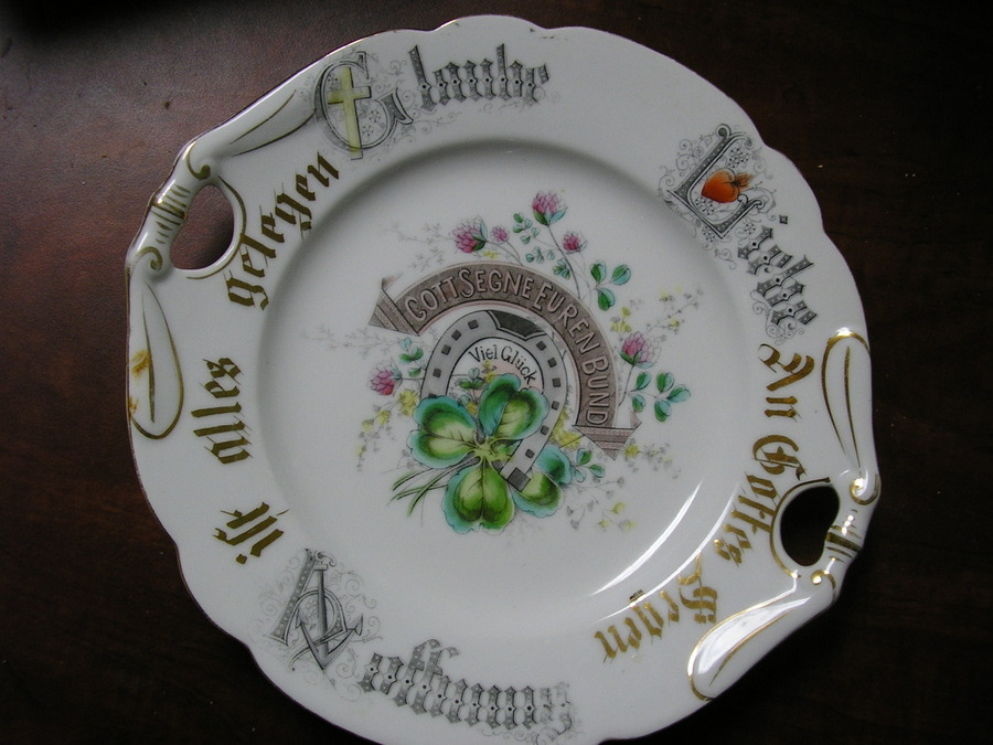 My mother in law from Austria left it for me when she passed and I have no clue who made it or what the writing means. Any help would be appreciated Thanks & I Have A German Dish With German Writing. It Also Has A HORS ...