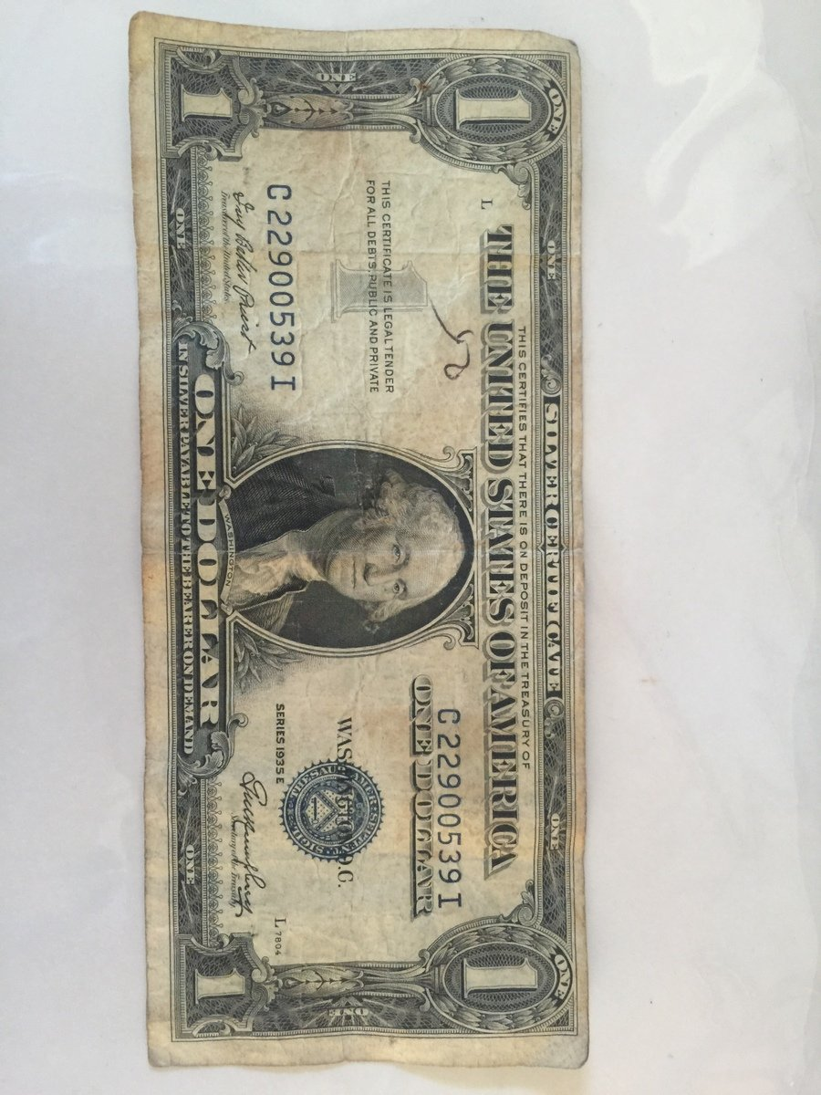 How much is a 1935 e silver certificate one dollar bill worth so this one would still be worth only 150 came across this in an old wallet from my grandfathers attic xflitez Choice Image