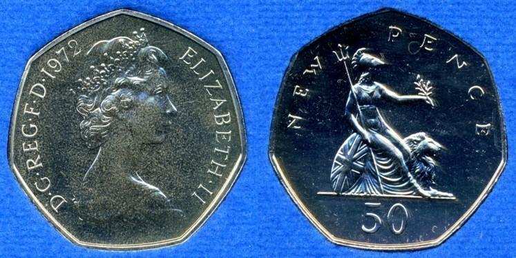 1970 5 cent coin