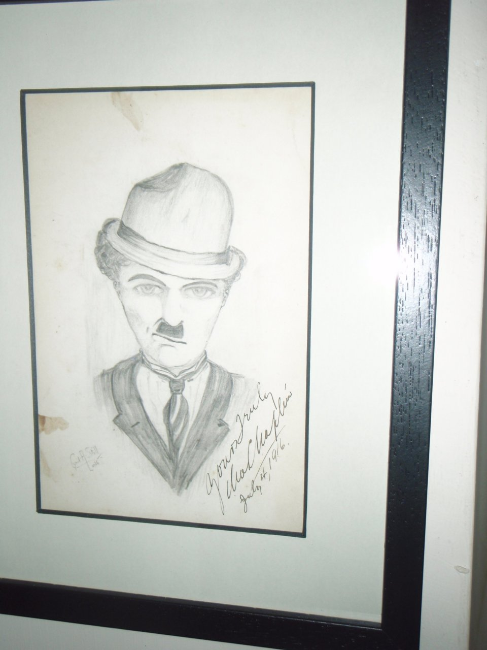 Hi this is a pencil drawing of chaz chaplin signed july 4th 1916 i purchas
