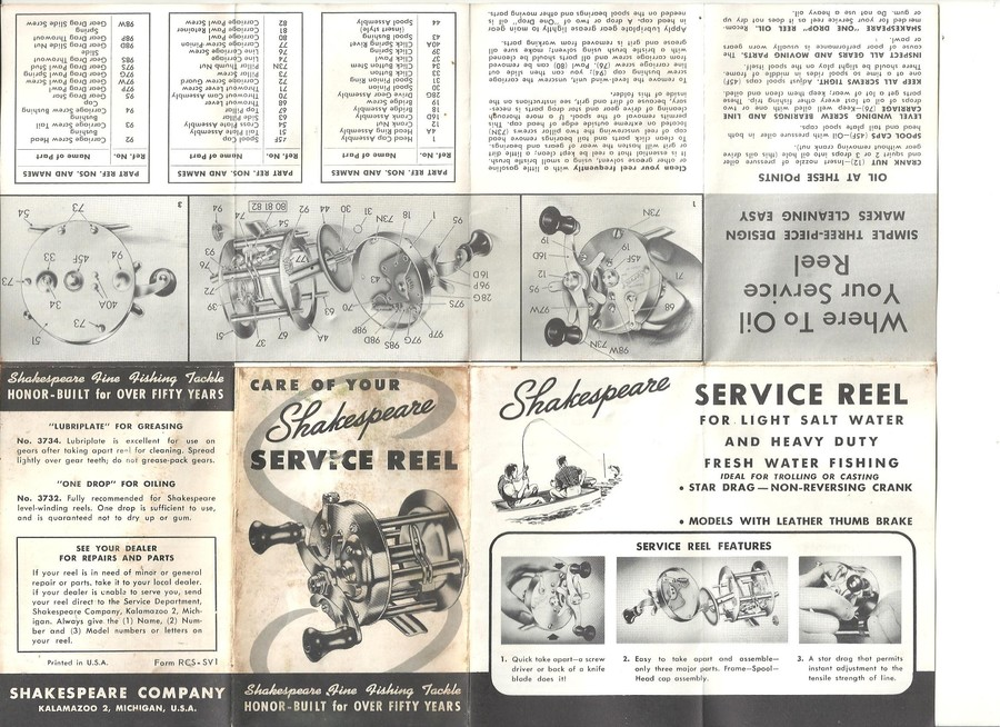 Shakespeare Service Reel 1946 FA Service Manual. I Would Like To Buy