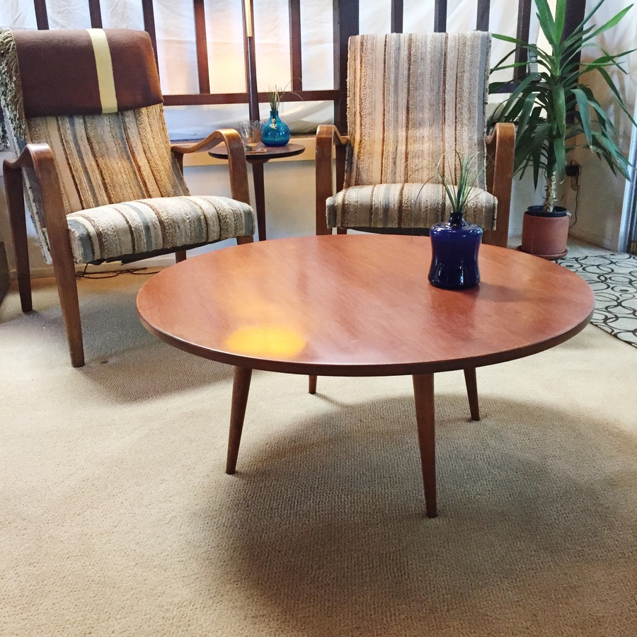 Found paul mccobb round coffee table my antique for Found furniture