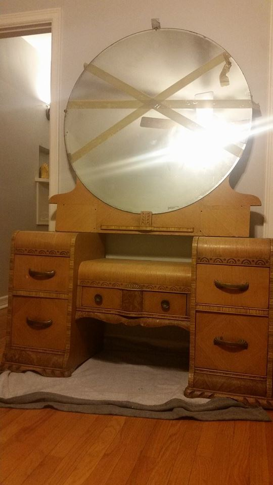 1940s Waterfall Vanity Dresser My Antique Furniture