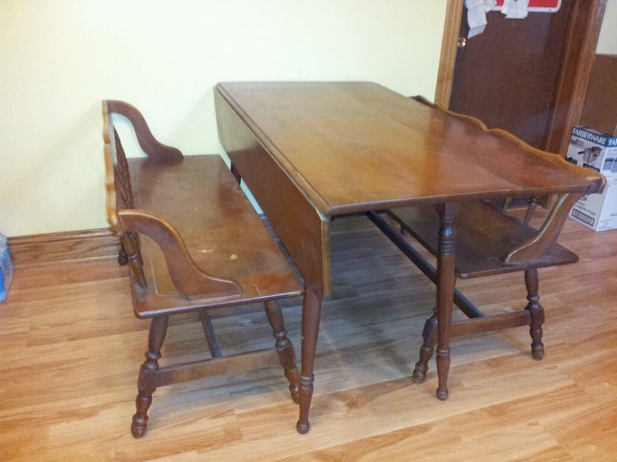 Tell City Drop Leaf Dining Table W/Benches Part 41