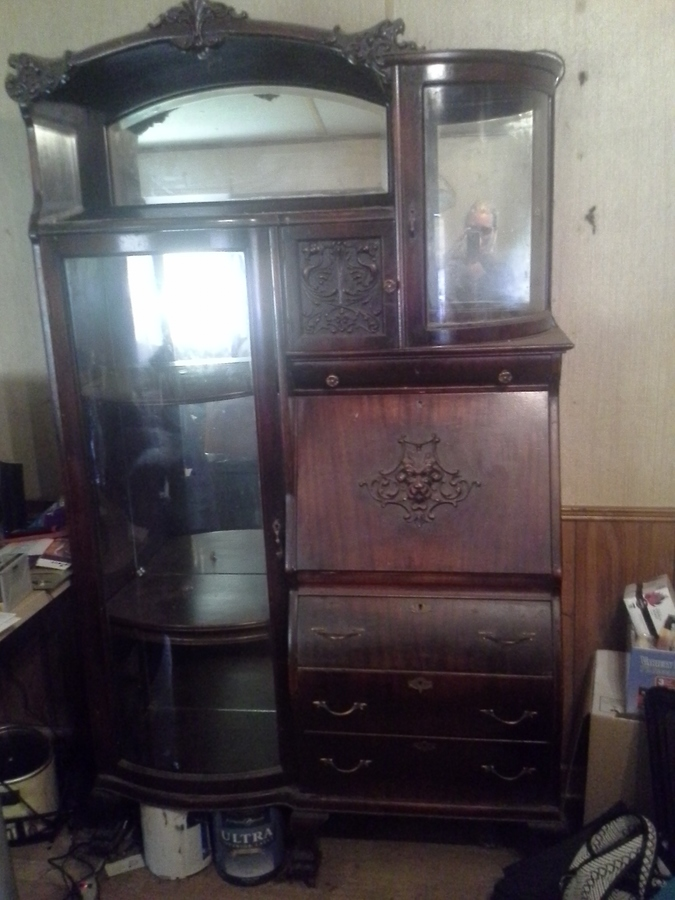 Curved Glass China Cabinet Secretary Desk Combo My