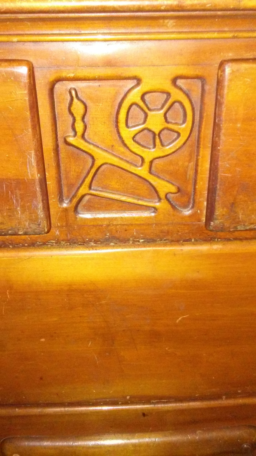 Maple Dresser With A Spinning Wheel Carved In The Middle Of It My Antique Furniture Collection