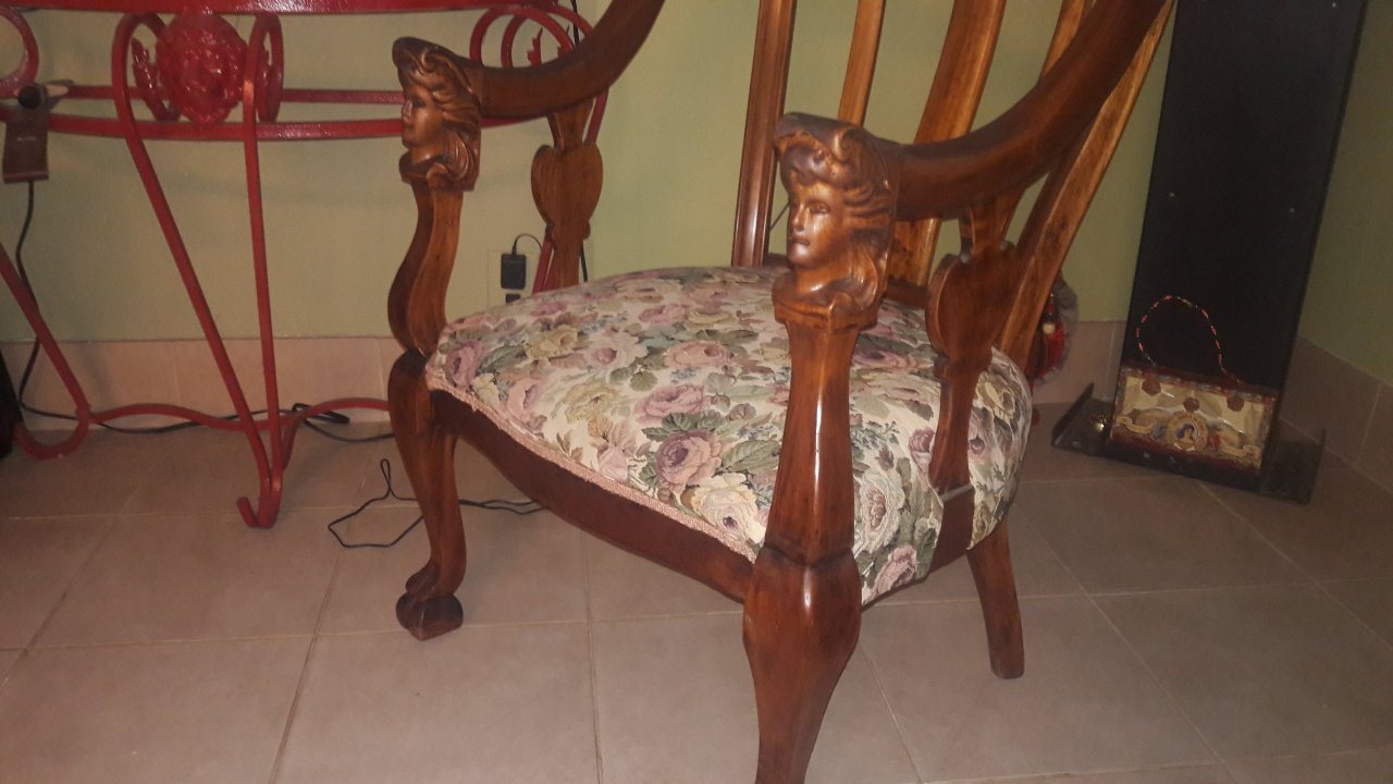 Antique Chairs With Womans Face On Arms And Claw Feet My