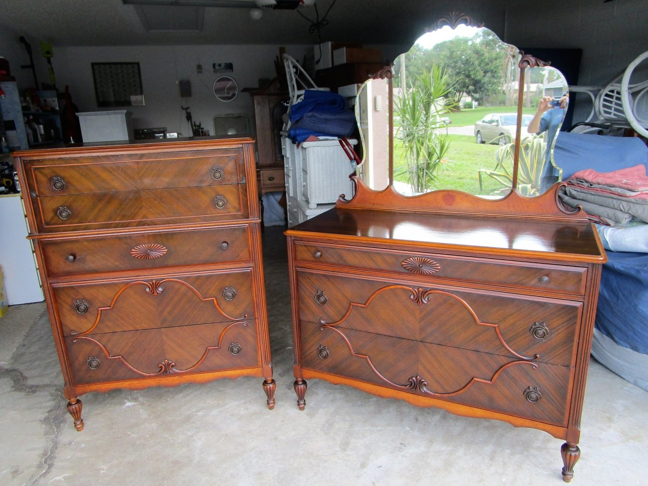 What Is The Value Of This T.C.F. Co. Dresser With Mirror And Chest Of Drawe.