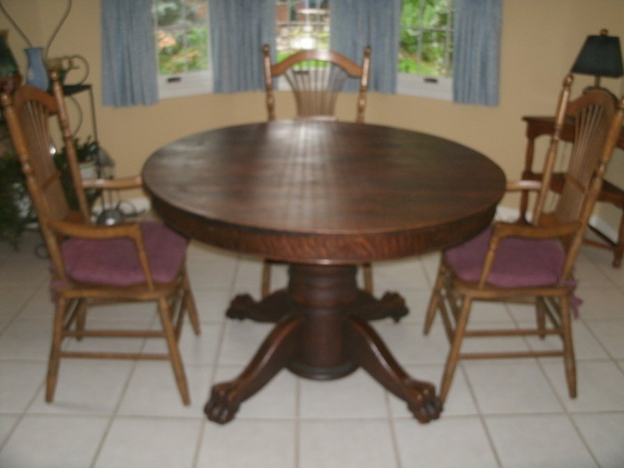 Value Of Antique Oak Tiger Claw Dining Table My Antique Furniture - Claw foot dining room table