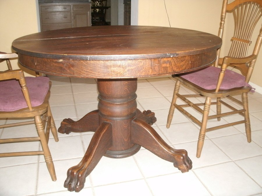 Value Of Antique Oak Tiger Claw Dining Table My Antique Furniture - Claw foot oak dining table