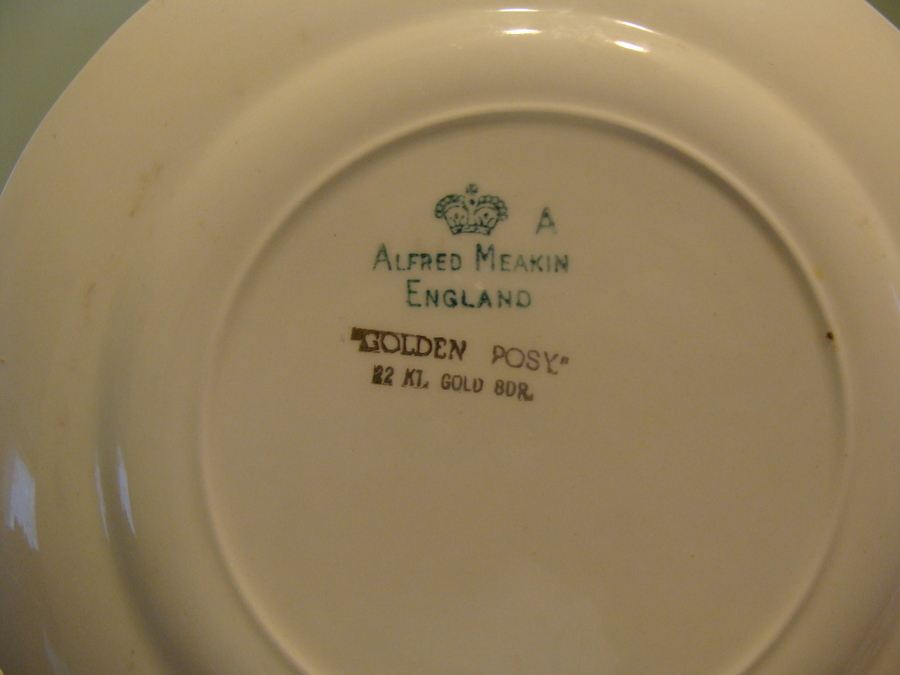Antique Dinnerware Set Alfred Meakin England Golden Posy