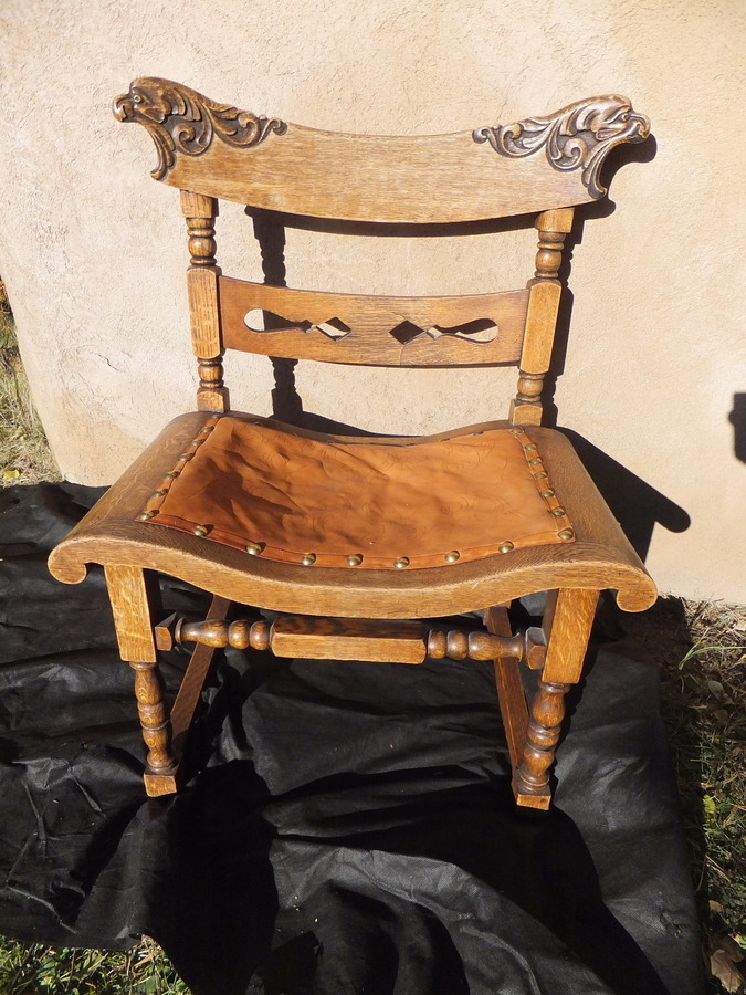 Oak Chair With Lion Engraving And Leather Seat My