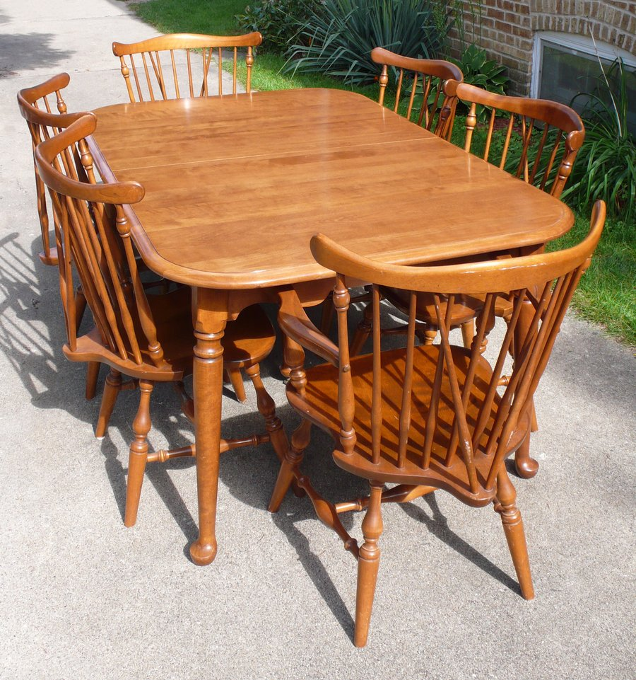 I Have An Ethan Allen Nutmeg 10 6020 Dining Table 6 Chairs And Buffet Am Wondering How Much To Sell It For Has Two Leaves Extend 84